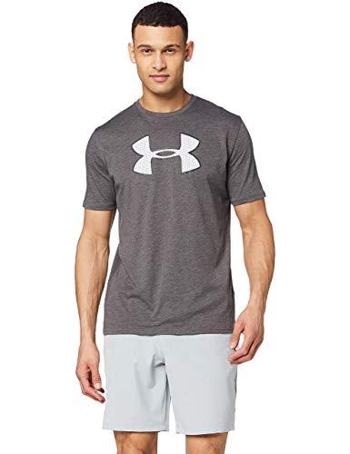 Under Armour Big Logo Ss - Camiseta ligera de manga corta para hombre, color Carbón Medium Jaspeado/Blanco, talla L