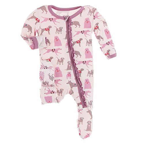KicKee Pants Print Muffin Ruffle Footie with Zipper (Macaroon Canine First Responders - 3-6 Months)