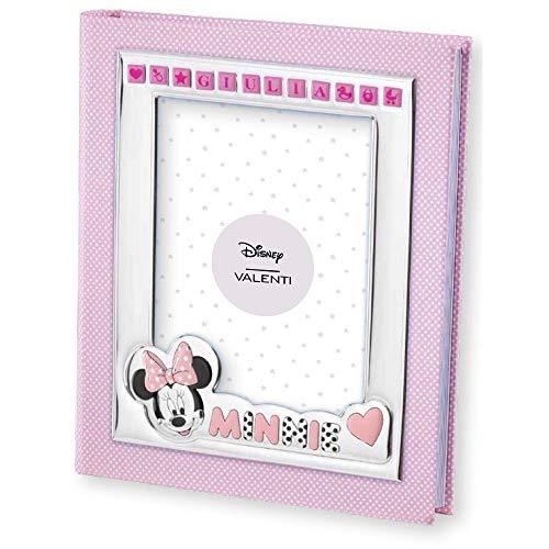 Disney - Album photo Minnie Mouse avec cadre sur la couverture - personnalisable avec le nom de l'enfant - avec autocollants/lettres autocollantes - cadeau pour bébé
