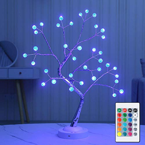 Lostars LED Bonsai Tree Light 18 inch Multi-Color Table Tree Lamp with Remote Control Color Changing Artificial Light Tree 6 Hour Timer Battery USB Power (16 Colors) Crack Ball Design