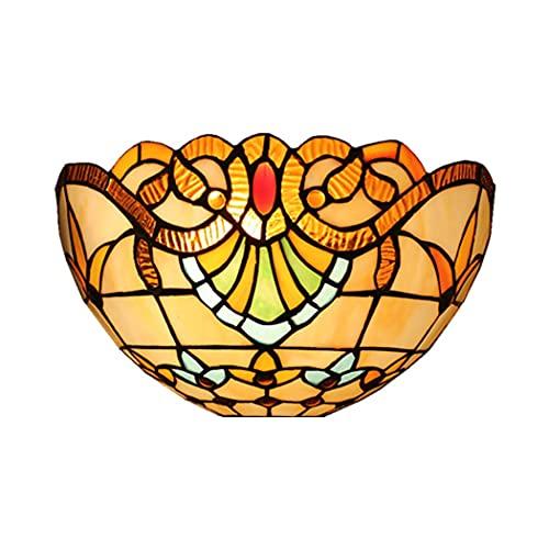 WENHAO Lámpara de Pared Apliques bellamente Vidrio Manchado del Estilo Barroco 1-Light Luz de Pared para el Estudio Sala Restaurante Bar Cafe, B/Código del artículo: LJW-8 (Color : C)