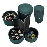 TEAYASON Cajas de Joyería de Viaje para Mujer, Caja Organizadora de Joyas Portátil, Gabinete de Exhibición de Joyas de Cuero, Pequeña Caja de Joyería (Rosa, Negro, Verde),Verde