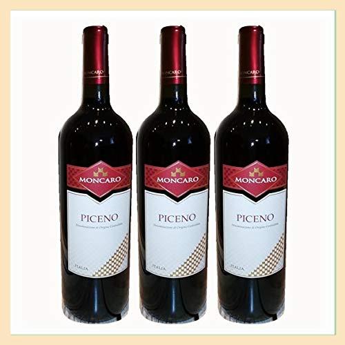 3x Vino Rosso Piceno doc, bottiglia 0,75 lt, Cantina Moncaro, Acquaviva Picena, Ascoli Piceno, Italy, prodotto tipico marchigiano