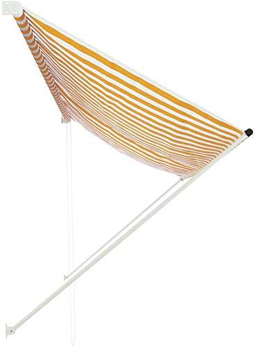 Lyrlody – Toldo de sol – Toldo parasol de lluvia retráctil para balcón o jardín, amarillo y blanco, 350 x 150 cm