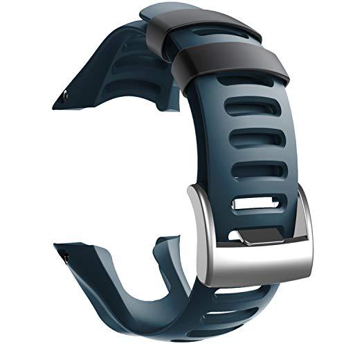 NotoCity Compatible con Correa Suunto Ambit 3, Silicona Reloj de Recambio Brazalete Correas para Suunto Ambit 3 (Hebilla de Plata, Slate)