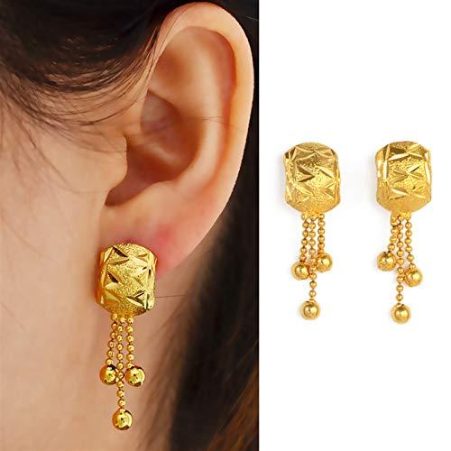 Multa Pendientes metálicos con Bola árabe para Mujeres/niñas Árabe African Jewelry Gold Color Colgante Regalo de Boda para Mujeres niñas (Color : Gold)