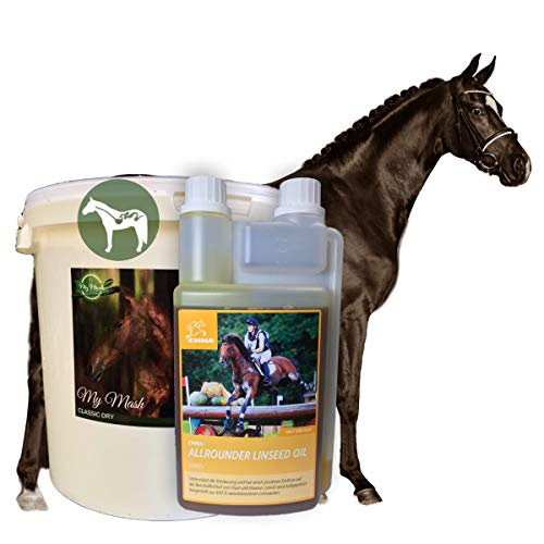 EMMA® Omega 3 Set Mash Pferd & Leinöl I Öl Leinsamen geschrotet I alte Pferde bei Zahnproblemen I Verdauungsprobleme Kolik Kotwasser Durchfall beim Pferd I Vitamine A, D & E I 1 L + 2 Kg
