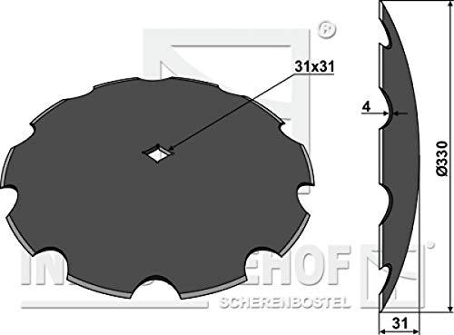 Scheibe für Scheibeneggen gezahnte Scheibe Ø330 S4 F31 C31mm-Vierkantwelle