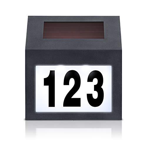 LZQ Número de casa solar LED de acero inoxidable negro, 2 LED...