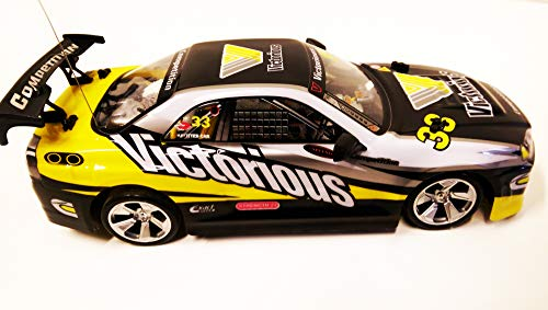 VICTORIOUS 4WD DRIFT RADIO REMOTE CONTROL CAR 1/14 + FREE TYRES (Yellow&Black) by Action Force Ltd