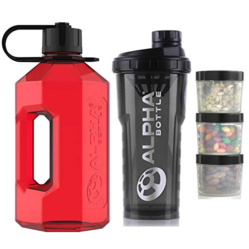 Alpha Bottle 2 Litre XXL Water Bottle Jug + 1 Litre Protein BCAA Shaker + Supplement Storage Pods (Pack of 3) (Solid Red/Smoked Black)