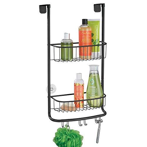 mDesign Duschablage zum Hängen über die Duschtür - praktisches Duschregal ohne Bohren - mit Saugnäpfen - Duschkorb zum Hängen aus Metall für sämtliches Duschzubehör - mattschwarz