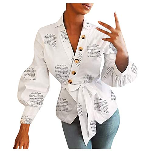 Best Prices! Lutos Women Letter Print Puff Sleeve Boyfriend Shirt Ladies Button Loose Formal OL Offi...