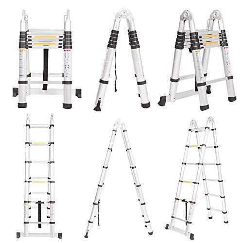 Finether 12.5 FT Aluminum Telescopic Extension Ladder, Portable Heavy Duty Multi-Purpose Aluminum Folding Telescoping Ladder,330 Pound Capacity
