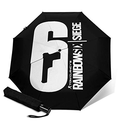 Rainbow Six Siege Automatic Tri-Fold Umbrella Parasol Sun Sunshade Travel Umbrella Waterproof Umbrella for Sun Rain