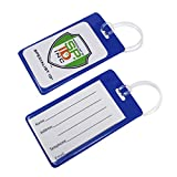 Bulk 100 Pack - Vivid Backpack ID Luggage Tags for Student Identification Cards - School Name Badge Holder for Backpacks - Business Card Size with Clear Insert Window by Specialist ID (Blue)