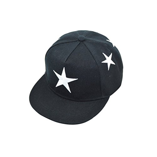 OULII Bestickte Baseballmütze Hip Hop Kappe für Jungen Mädchen (Schwarz)