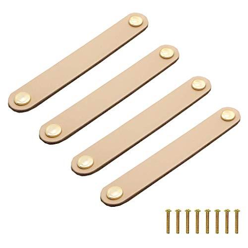 Juland 4 pomos de piel para puerta con doble agujero para gabinete, tiradores de cocina, cajones y aparadores con tornillos, 2 agujeros, 170 x 21 x 8 mm, color amarillo claro