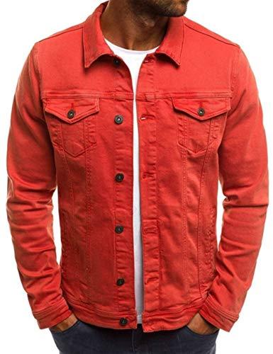 Men's Oversize Cozy Regular Fit Utility Pocket Overshirt Long Sleeve Slim Fit Button Up Denim Field Shirt Jacket(RE-L)