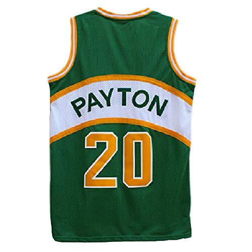 Haeyev Men's Payton Retro Jersey Athletics Gary Jersey Basketball #20 Jersey(S-XXL)(L) Green