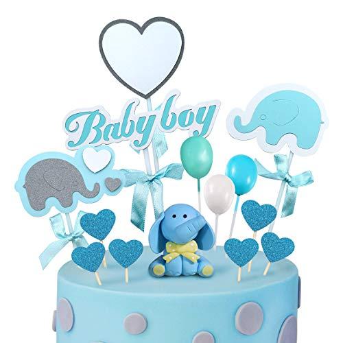iZoeL Tortendeko Babyparty Junge Elefante Baby Boy Luftballon Sterne Kuchendeko Tortendekoration Taufe Baby Shower