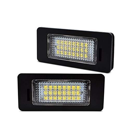 LncBoc LED Luz de la matrícula para coche Lámpara Numero plato luces Bulbos 3W 12V 24SMD con CanBus No hay error 6000K Xenón Blanco frio para E82 E88 E46 E90 E91 E92 E93, 2 Piezas