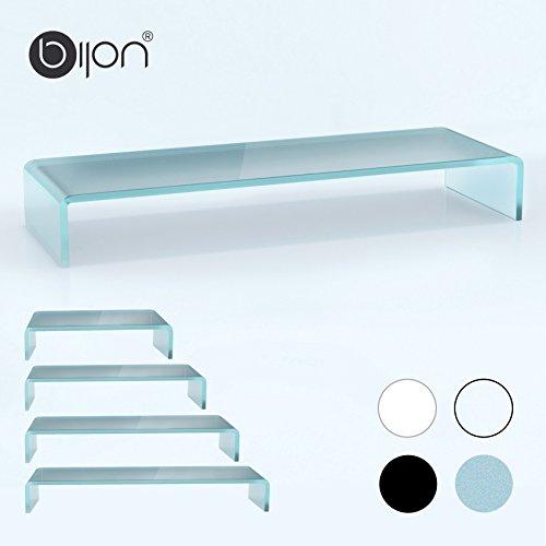 bijon® TV Aufsatz Glas Bildschirm-Erhöhung | PC Monitor-Erhöhung, Schreibtisch-Aufsatz für Laptop Erhöhung, Monitor-Erhöhung | (B/T/H) 900x300x130mm - Satin