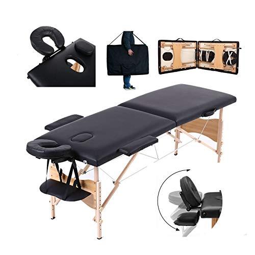 Mobile Massageliege Massagetisch Klappbar Massagebett Massagebank mit 2 Zonen höhenverstellbaren HolzFüßen Kosmetik Bank (bis 230kg belastbar) - Schwarz