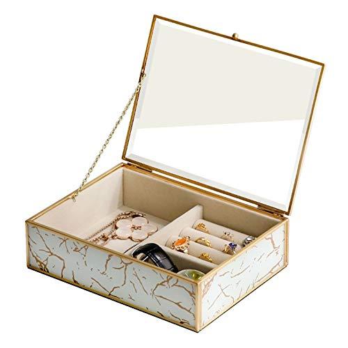 Cajas para Joyas Joyero Joyería transparente de joyería de vidrio Organizador de joyería de terciopelo Elegante apariencia de mármol y marco chapado en oro para el anillo y pulsera del collar del pend
