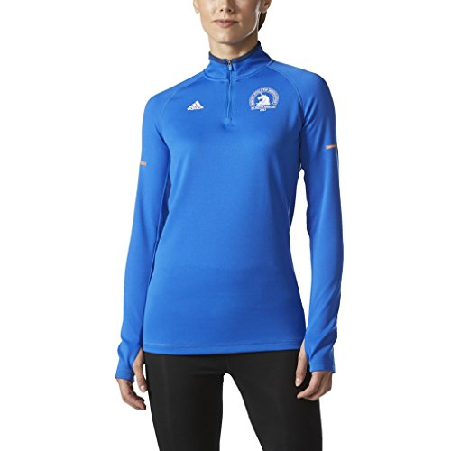 adidas Performance Women's Climacool Cold Weather Boston Marathon 2017 Unicorn Half Zip Long Sleeve, Blue/White, Small