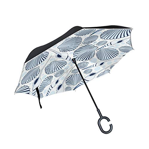 Cheapest Price! PNGLLD Conch Sea Snail Pattern Inverted Umbrella Double Layer Reverse Folding Umbrel...