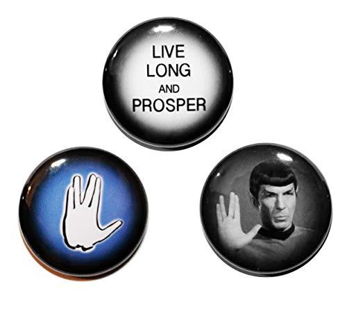 Button Zombie Anstecker / Buttons, Motiv: Mr. Spock aus Star Trek, hergestellt in Großbritannien, 3Stück