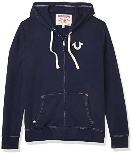 True Religion Men's Classic Logo Long Sleeve Zip Up Hoodie, True Navy, X-Large