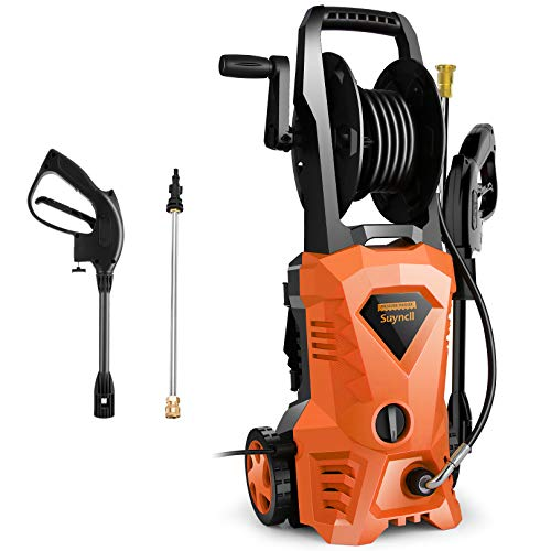 Suyncll Pressure Washer 3000PSI Electric Power Washer with Hose Reel and Brush,High Pressure Washer for Driveway Fence Patio Deck Cleaning (Orange)