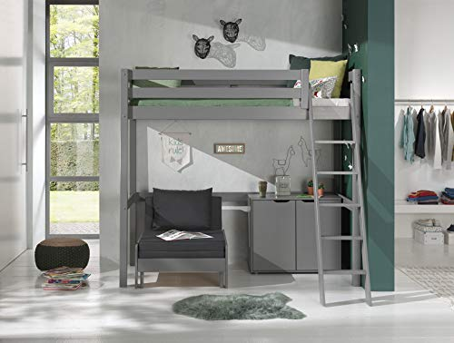 Vipack Cama alta con superficie de descanso de 90 x 200 cm, incluye cama y cómoda con 2 puertas de pino macizo, color gris lacado