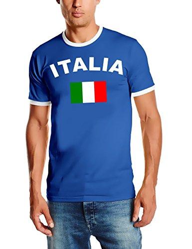 Coole-Fun-T-Shirts Herren T-Shirt Italia - Italien fußball, Royalblau Ringer Gr.L