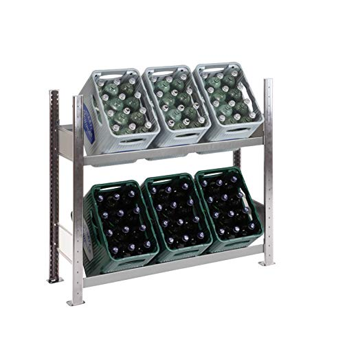 Getränkekistenregal Kastenständer 1000 x 1060 x 336 mm, komplett verzinkt, 2 Ebenen, für bis zu 6 Kästen; Made in Germany