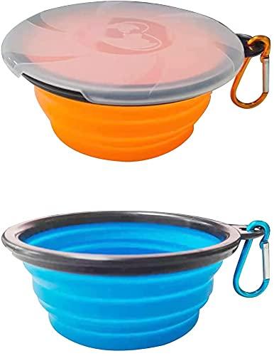 Collapsible - Set di 2 ciotole per cani, in silicone, pieghevoli, con carabiners, portatile, per campeggio, campeggio, colore: arancione e blu