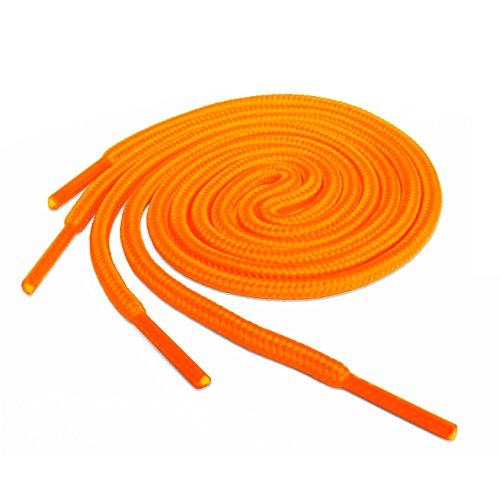 Lacci per scarpe, modello arrotondato, colorati, per scarpe da ginnastica, scarpini da calcio, adatti a tutte le marche, per adulti e bambini, Arancione (Neon Orange), 60 cm