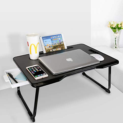 Baodan Laptop Bed Table with Storage, Foldable Laptop Desk Stand Breakfast Tray, Multifunction Lap Tablet with Drawer for Eating, Studying on Bed/Sofa/Couch/Floor