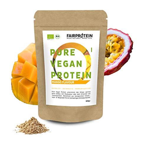 Fairprotein® NEU 3K Bio Vegan Protein Pulver 650g [aus Deutschland] Sojafreies Bio Reisprotein, Hanfprotein & Erbsenprotein » Zum Kochen & Backen & als Bio Eiweiss-Shake « (Mango-Passionsfrucht)