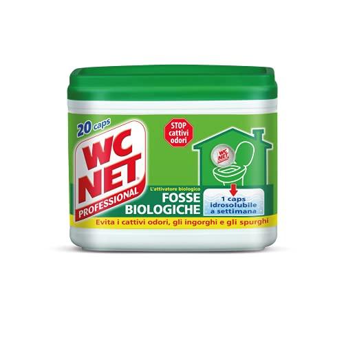 Wc Net Professional - Fosse Biologiche, Capsule Idrosolubili per WC, Scioglie gli Ingorghi, 20 Caps