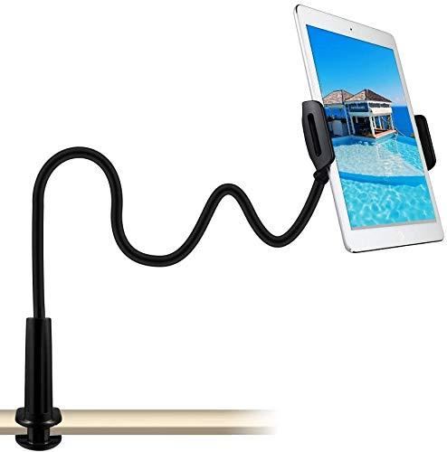 CHANG - Soporte de cuello de cisne para tableta, teléfono y tableta, ajustable y desmontable, con soporte para dispositivos Apple o Android de 4 a 10,6 pulgadas, longitud total de 80 cm, color negro