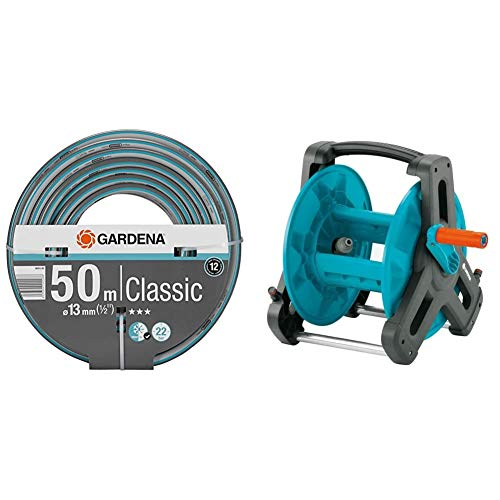 Gardena Classic Schlauch 13 mm (1/2 Zoll), 50 m: Universeller Gartenschlauch aus robustem Kreuzgewebe & Classic Schlauchtrommel 50: Wasserschlauchtrommel für Gartenschlauch max. 50 m (13 mm Schlauch)