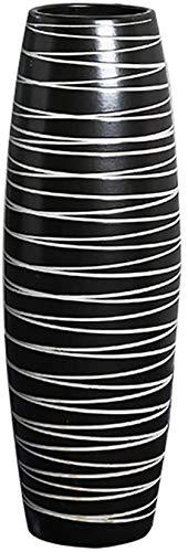 noyydh Moderne minimalistische handgemaakte vloer woonkamer floral decoratie decoratie woondecoratie keramische gedroogde bloemen vaas zwart gestreepte grote vaas decoratie (Size : 50cm)