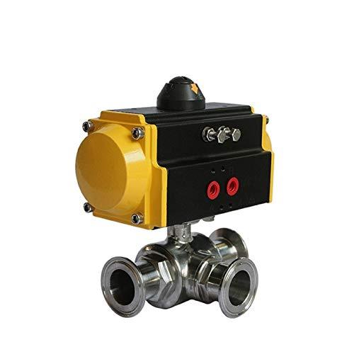 Electroválvula de líquido y gas Alimentos seguros de 1 pulgada Sanitaria neumático agarre de la bola de la válvula DN25 3 maneras de actuación doble Tri-Clamp de bola neumática de acero inoxidable Vál