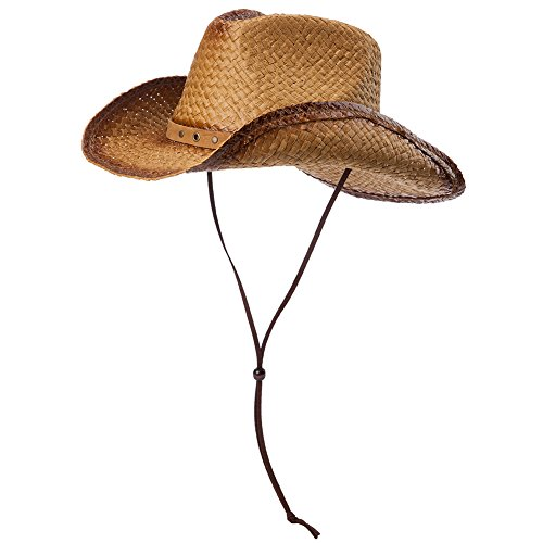 Comhats Comhats Unisex Cowboy Hüte Strohhut Formbare Krempe mit Kinnriemen kaffeebraun M