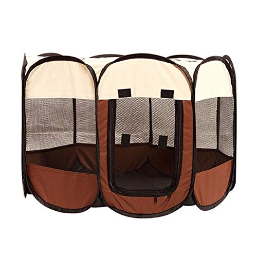 Trihedral-X Portable Folding Pet Big Tent Dog House Cage Dog Cat Tent Playpen Puppy Kennel Easy Operation Durable Outdoor Octagon Fence (Color : Coffee, Size : 74x74x43CM)