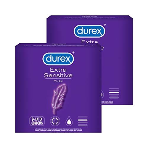 Condoms Durex Extra Sensitive amp Extra Lubricated Condoms 24 Count Pack of 2 Ultra Fine Natural Latex Condoms FSA amp HSA Eligible