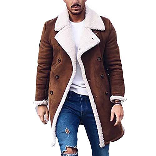 Sijux Herren Vintage Schaffell Jacke Polo Kragen Kunstpelz Fleece Futter Shearling Verdicken Winter Warme Mantel Outwear,Braun,L